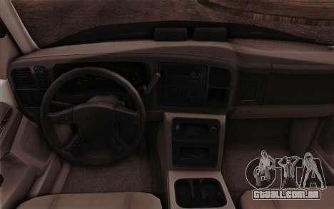 Chevrolet Suburban FBI para GTA San Andreas vista interior