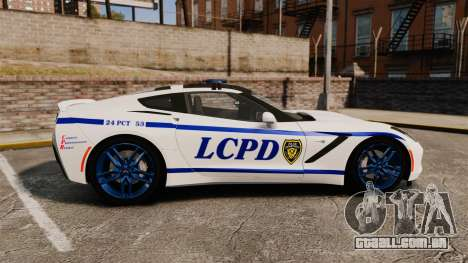 Chevrolet Corvette C7 Stingray 2014 Police para GTA 4 esquerda vista