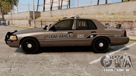 Ford Crown Victoria 2008 Sheriff Traffic [ELS] para GTA 4 esquerda vista