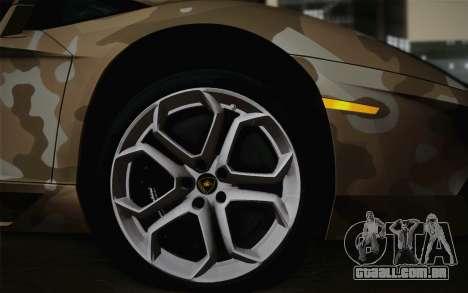 Lamborghini Aventador LP 700-4 Camouflage para GTA San Andreas traseira esquerda vista