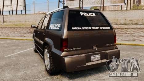 Cavalcade Police para GTA 4 traseira esquerda vista
