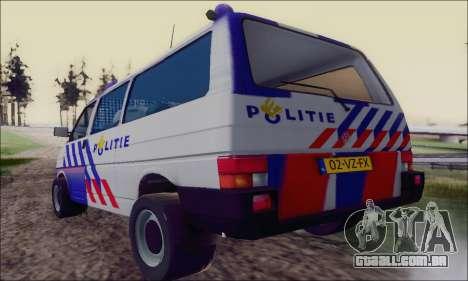 Volkswagen T4 Politie para GTA San Andreas vista direita