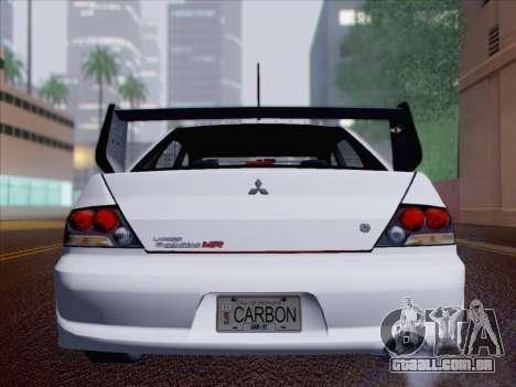 Mitsubishi Lancer Evo IX MR Edition para GTA San Andreas vista inferior