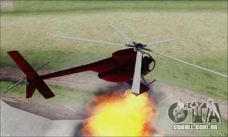 Helicóptero de ataque do abutre de GTA 5 para GTA San Andreas vista traseira
