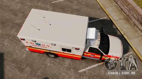 Ford F-350 FDNY Ambulance [ELS] para GTA 4 vista direita