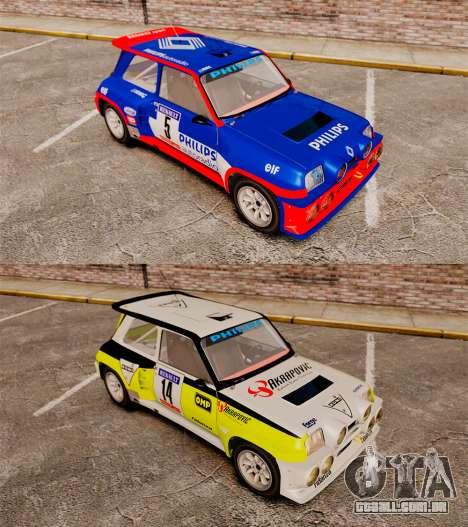 Renault 5 Turbo Maxi para GTA 4 vista de volta