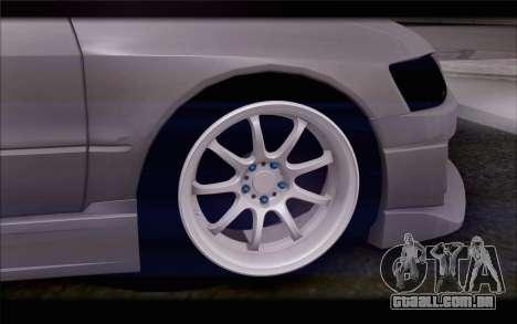 Mitsubishi Lancer Evolution Stance para GTA San Andreas traseira esquerda vista