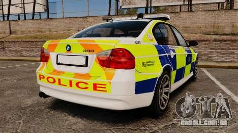 BMW 330i Hampshire Police [ELS] para GTA 4 traseira esquerda vista