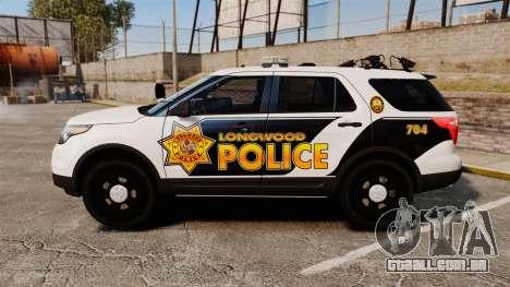 Ford Explorer 2013 Longwood Police [ELS] para GTA 4 esquerda vista