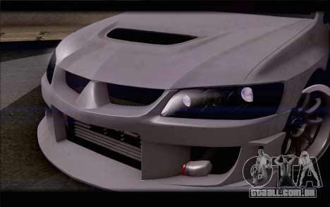 Mitsubishi Lancer Evolution Stance para GTA San Andreas vista interior