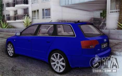 Audi A4 2005 Avant 3.2 Quattro Open Sky para GTA San Andreas esquerda vista