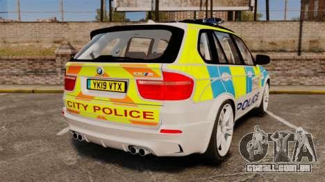 BMW X5 City Of London Police [ELS] para GTA 4 traseira esquerda vista