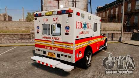 Ford F-350 2013 FDNY Ambulance [ELS] para GTA 4 traseira esquerda vista