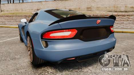 Dodge Viper SRT TA 2014 Rebuild para GTA 4 traseira esquerda vista