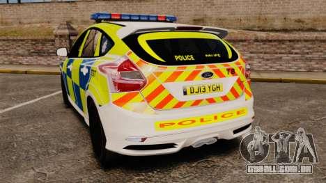 Ford Focus 2013 Uk Police [ELS] para GTA 4 traseira esquerda vista