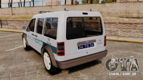Ford Transit Connect Turkish Police [ELS] para GTA 4 traseira esquerda vista
