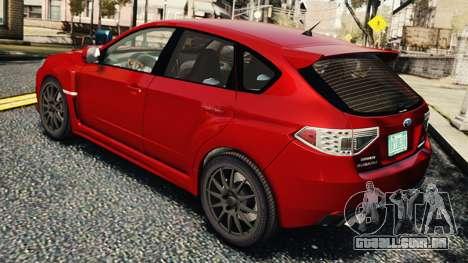 Subaru Impreza WRX STi 2010 para GTA 4 vista direita
