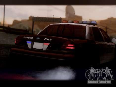 Ford Crown Victoria 2005 Police para GTA San Andreas vista direita