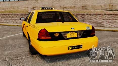 Ford Crown Victoria 1999 NYC Taxi para GTA 4 traseira esquerda vista