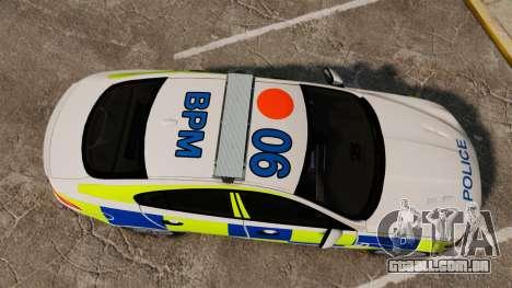Jaguar XFR 2010 British Police [ELS] para GTA 4 vista direita