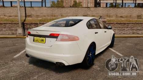 Jaguar XFR 2010 Police Unmarked [ELS] para GTA 4 traseira esquerda vista