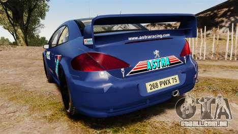 Peugeot 307 WRC para GTA 4 traseira esquerda vista