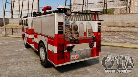 Caminhão de bombeiros para GTA 4 traseira esquerda vista