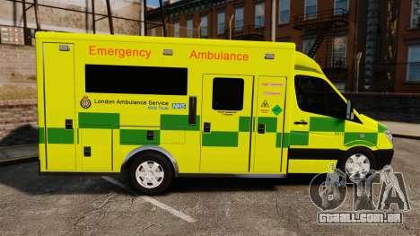 Mercedes-Benz Sprinter [ELS] London Ambulance para GTA 4 esquerda vista