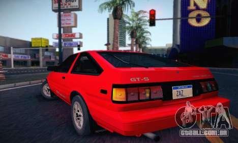 Toyota Corolla GT-S 1985 para GTA San Andreas traseira esquerda vista
