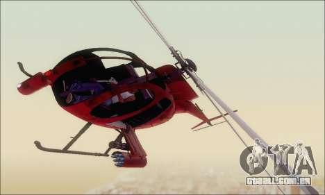 Helicóptero de ataque do abutre de GTA 5 para GTA San Andreas esquerda vista