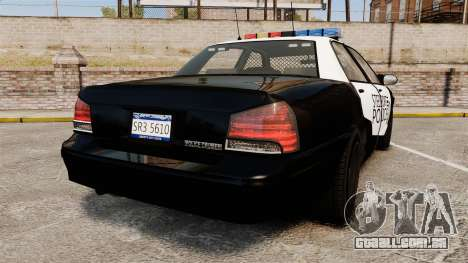 GTA V Vapid Steelport Police Cruiser [ELS] para GTA 4 traseira esquerda vista