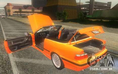 BMW 325i E36 Convertible 1996 para GTA San Andreas vista interior