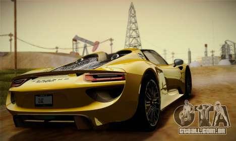 Porsche 918 Spyder 2014 para GTA San Andreas vista interior