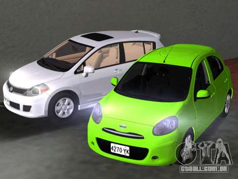 Nissan Tiida para GTA Vice City vista inferior