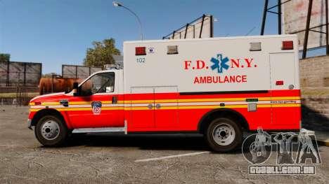 Ford F-350 FDNY Ambulance [ELS] para GTA 4 esquerda vista