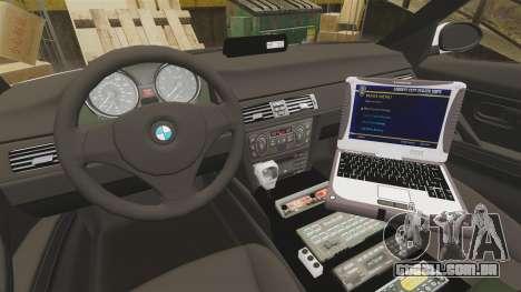 BMW 330i Metropolitan Police [ELS] para GTA 4 vista de volta