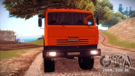Transportador de madeira 54115 KAMAZ para GTA San Andreas esquerda vista