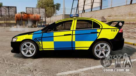 Mitsubishi Lancer Evolution X Uk Police [ELS] para GTA 4 esquerda vista