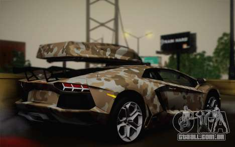 Lamborghini Aventador LP 700-4 Camouflage para GTA San Andreas esquerda vista