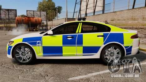 Jaguar XFR 2010 British Police [ELS] para GTA 4 esquerda vista