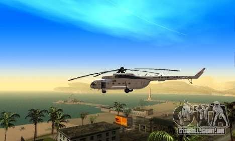 MI 8 das Nações Unidas (ONU) para GTA San Andreas traseira esquerda vista