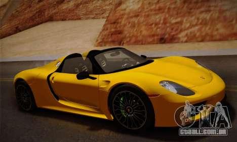 Porsche 918 Spyder 2014 para GTA San Andreas esquerda vista