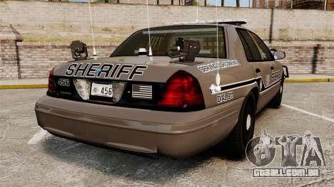 Ford Crown Victoria 2008 Sheriff Traffic [ELS] para GTA 4 traseira esquerda vista