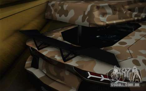 Lamborghini Aventador LP 700-4 Camouflage para GTA San Andreas vista traseira