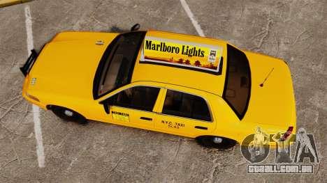 Ford Crown Victoria 1999 NY Old Taxi Design para GTA 4 vista direita