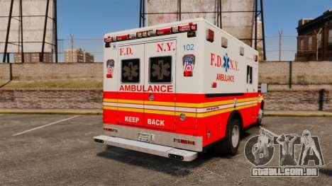 Ford F-350 FDNY Ambulance [ELS] para GTA 4 traseira esquerda vista
