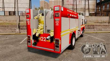 Firetruck FDLC [ELS] para GTA 4 traseira esquerda vista