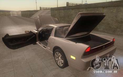 Acura NSX para GTA San Andreas vista interior