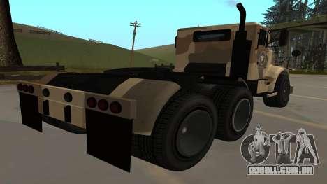 GTA V Barracks Semi para GTA San Andreas traseira esquerda vista