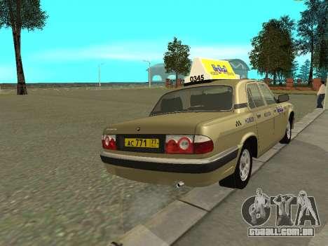 Táxi de 31105 Volga GAZ para GTA San Andreas vista direita